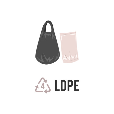 Plastic recycling icon, symbol and sign PELD, LDPE. Types of plastic recycling with low density polyethylene trash bag. Isolated vector illustration on white background. Illustration