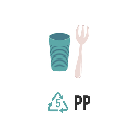 Plastic recycling icon, symbol and sign PP. Types of plastic recycling with polypropylene disposable fork and glass, isolated vector illustration on white background. Illustration