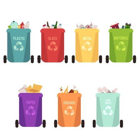 Recycle bins and garbage types, separation of waste on containers for recycling. Different colored recycle waste bins, isolated vector illustration on white background.