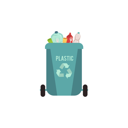 Rubbish blue bin with plastic waste. Garbage sorting type for recycling. Container for sorting plastic rubbish, vector illustration.