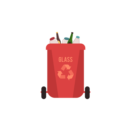 Rubbish red bin with glass waste. Container for sorting glass garbage for recycling with glass bottles and jars. Isolated vector illustration on white background.