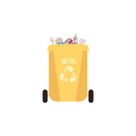 Rubbish yellow bin with metal waste and garbage for recycling with tin can, fork and spoon, isolated vector illustration on white background. Ilustração