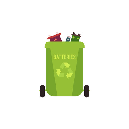 Rubbish green container with batteries waste and garbage for recycling, vector illustration.