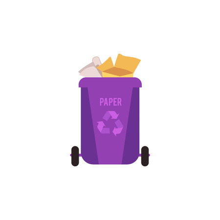 Rubbish violet bin with paper waste. Container for sorting paper and cardboard garbage for recycling. Isolated vector illustration on white background.