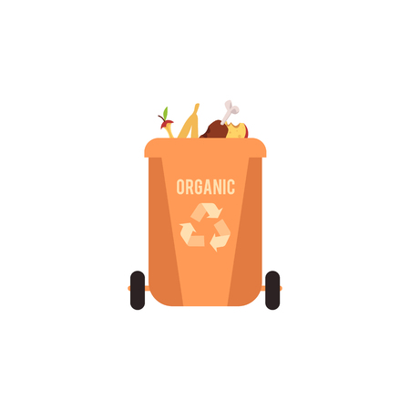 Rubbish orange bin with organic waste. Garbage sorting type for recycling. Container for sorting organic rubbish and food, isolated vector illustration on white background.