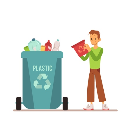 A young man throws out and sorts trash and garbage in a plastic bin or container. Garbage sorting type for recycling, container for plastic rubbish. Isolated vector illustration on white background.