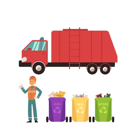 Set of recycling icons with trash bins, worker in uniform and garbage truck in flat style, isolated vector illustration on white background. Ilustracja