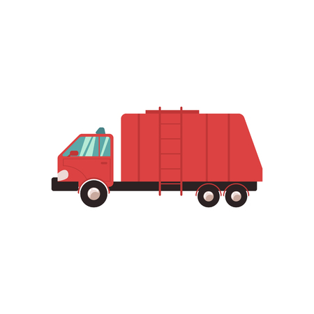 Red garbage truck in flat style. Garbage, trash and rubbish collection for recycling, vector illustration. Vehicle, car and truck icon.