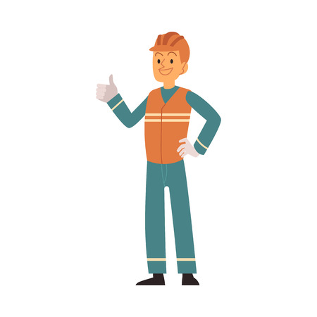 Garbage man in orange and blue workwear shows thumb. Worker in uniform sorts and collects garbage, rubbish, waste and trash for recycling. Isolated flat vector illustration on white background.