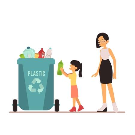Una giovane donna e una ragazza gettano la spazzatura in un bidone di plastica o in un contenitore con bottiglie. Tipo di smistamento dei rifiuti per il riciclaggio, contenitore per rifiuti di plastica, illustrazione vettoriale. Vettoriali
