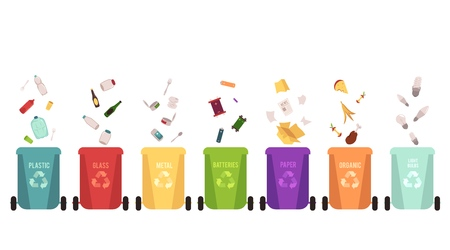 Recycle bins set and garbage types, separation of waste on different colored containers for recycling. Falling plastic and metal, glass and paper, organic, batteries. Vector illustration.