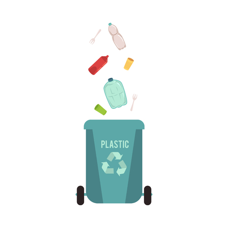 Rubbish blue bin or container with falling plastic waste, garbage. Rubbish sorting type for recycling with bottle and disposable dishes. Isolated vector illustration on white background.