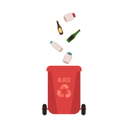 Rubbish red bin with glass waste. Container for sorting falling glass garbage for recycling with glass bottles and jars, isolated vector illustration on white background.