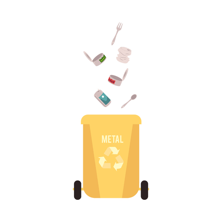 Rubbish yellow bin with falling and pour in metal waste and garbage for recycling with tin can, fork and spoon, vector illustration. Ilustração