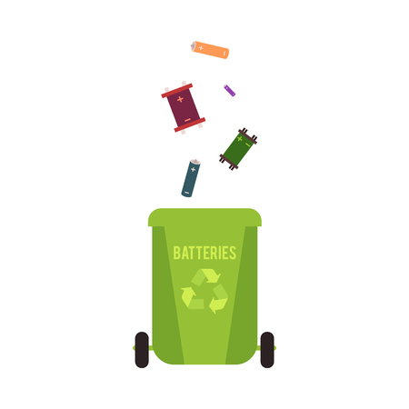 Rubbish green container with batteries waste and garbage for recycling. Trash bin with batteries. Isolated vector illustration on white background.