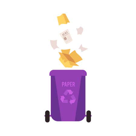 Rubbish violet bin with falling paper waste. Container for sorting paper and cardboard garbage for recycling, isolated vector illustration on white background.