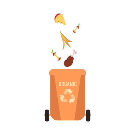 Rubbish orange bin with organic falling waste and garbage for recycling, vector illustration.