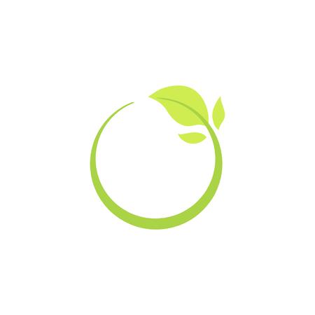 Recycle eco natuurlijke pictogram met groen blad, geïsoleerde ecologie vectorillustratie.