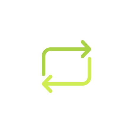 Rectangular green arrows, eco icon and recycling sign. Isolated vector illustration on white background.