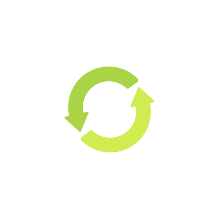 Recycling green sign. Eco   icon with green arrows in a circle, isolated vector illustration. Ilustração