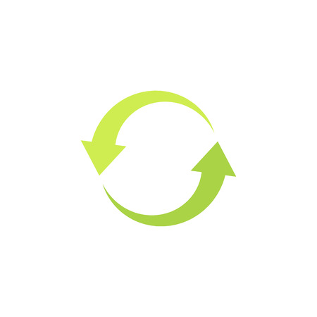 Eco logotype recycling. Icon with green arrows in a circle. Isolated vector illustration on white background.