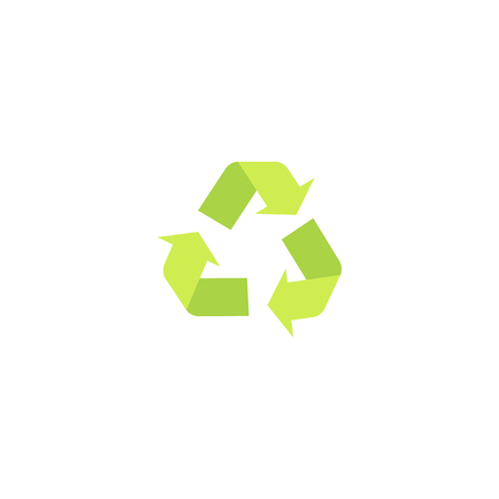 Recycling green eco symbol and icon with arrows in a flat style, isolated vector illustration. Ilustração