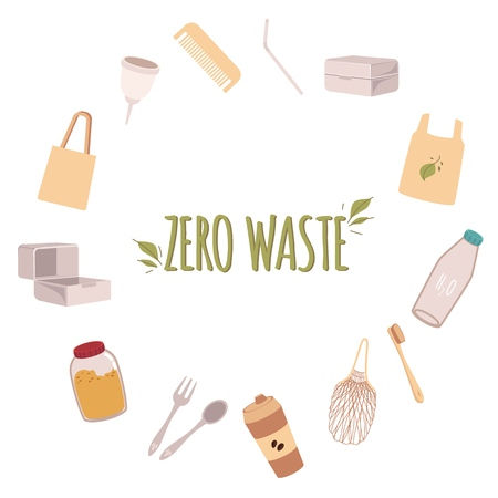 A frame of eco friendly objects around the text Zero waste in a flat style. Zero waste objects, recycle and no plastic bags and bottles, spoon and lunch boxes.