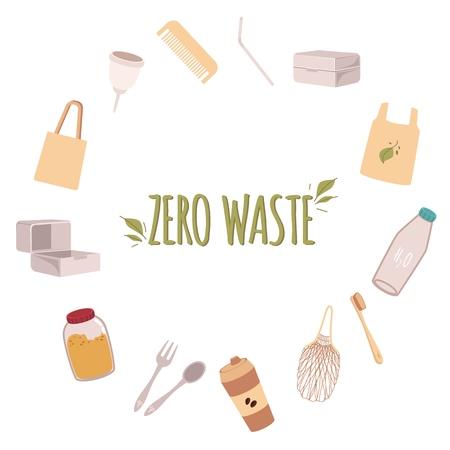Ein Rahmen aus umweltfreundlichen Objekten um den Text Zero Waste in einem flachen Stil. Keine Abfallgegenstände, recyceln und keine Plastiktüten und -flaschen, Löffel und Brotdosen.