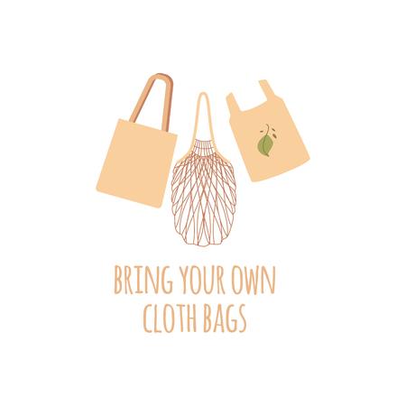 Ensemble de trois sacs écologiques en tissu d'épicerie réutilisables. Sacs de ficelle, d'épicerie et de marché dans un style plat avec du texte. Concept zéro déchet, illustration vectorielle isolée sur fond blanc.