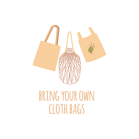 Set of three shopping reusable grocery cloth eco bags. String, grocery and market bags in a flat style with text. Zero waste concept, isolated vector illustration on white background.