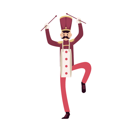 Parade and marching band participant, mustache man with drum sticks. Parade musician with a sticks. Isolated vector man in flat cartoon style on white background.
