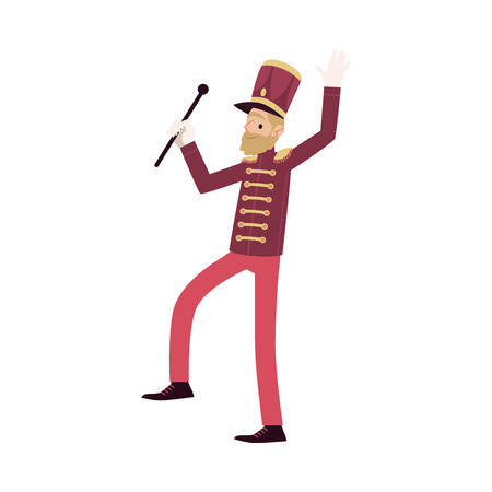 Parade participant, leader marching band and drum major. Bearded parade musician with a rod. Isolated vector man in flat cartoon style on white background. Standard-Bild - 117386791