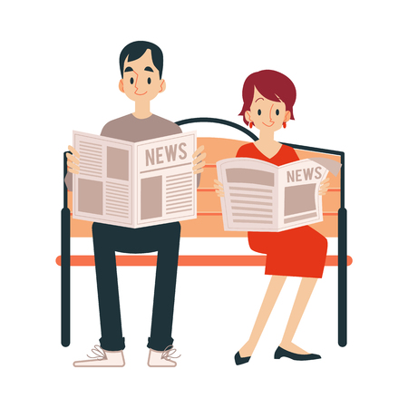 An adult couple, a man and a woman read a newspaper, news, standing and sitting on a bench. Man and woman in cartoon flat style read newspaper and news, isolated vector illustrations on white background. Illustration