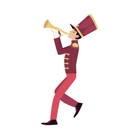 Parade and marching band participant, young trumpeter plays trumpet. Parade musician with a trumpet, isolated vector man in flat cartoon style on white background.