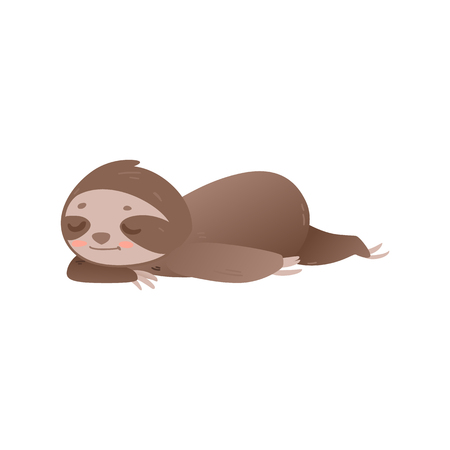 Cute lazy sloth sleeping - adorable jungle animal laying on floor or ground and resting isolated on white background. Funny cartoon character relaxing with closed eyes in flat vector illustration. Иллюстрация