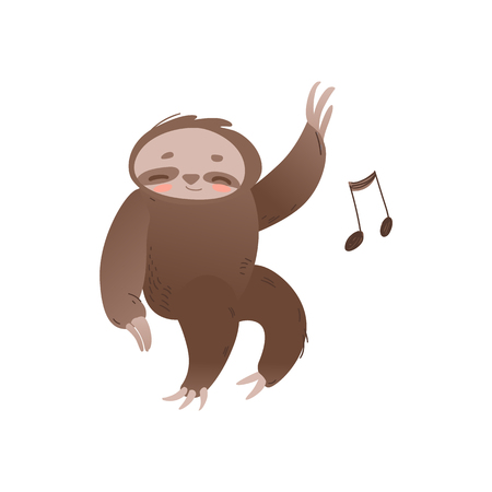 Cute sleepy sloth with closed eyes relaxing and listening to music - adorable jungle animal with musical note. Funny sleeping cartoon character in isolated flat vector illustration.