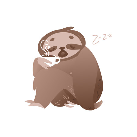 Cute sleepy sloth with cup of hot coffee for waking up in morning or monday concept. Adorable animal sleeping and holding invigorating drink in isolated flat vector illustration. 일러스트