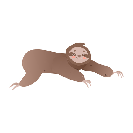 Cute lazy sloth crawling forward - funny jungle animal creeping on ground or tree isolated on white background. Adorable smiling cartoon character in flat vector illustration.