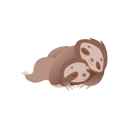 Cute sloth family sleeping - funny jungle animal mother with little baby and relaxing isolated on white background. Flat cartoon characters laying and resting in vector illustration.
