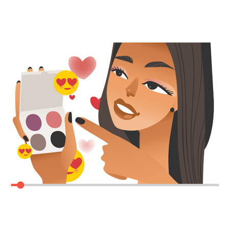 Female beauty vlogger with eye shadows in hands on internet video screen - young blogger streaming make up tutorials on vlog channel in flat style isolated on white background. Иллюстрация