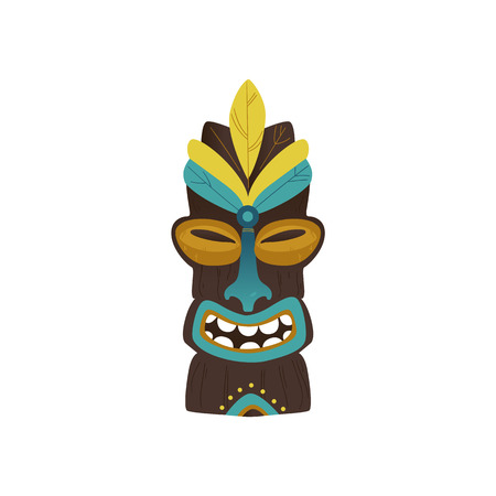 Vector hawaii or aztec ehtnic idol. Tribal polynesian, maya ritual statue, cultural landmark of ancient civilization. Exotic totem for native design decoration. Isolated illustration Иллюстрация