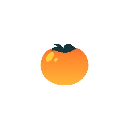 Vector persimmon exotic fruit cartoon icon. Tropical food for summer party, seaside vacation design. Healthy food full of vitamins. Natural fresh ingredient for dieting menu. Isolated illustraiton Illustration