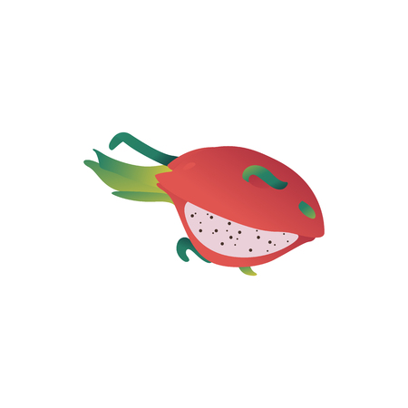 Vector pitaya gradon fruit cartoon icon. Tropical asian food for summer party, seaside vacation design. Healthy food full of vitamins. Natural fresh ingredient for dieting menu. Isolated illustraiton Illustration
