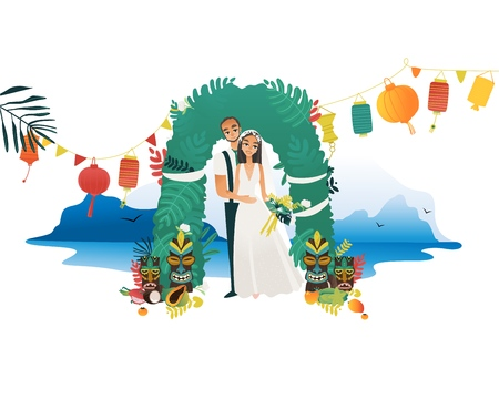 Marriage ceremony on Hawaii coast - young bride in white dress and groom in costume getting married at beach surrounded by traditional hawaiian tropical elements in flat isolated vector illustration.
