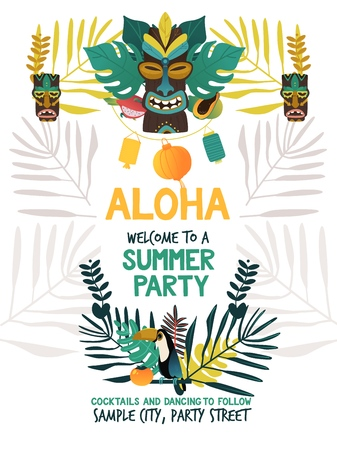 Invitation poster template for hawaiian summer party with traditional Hawaii island symbols of tiki, tropical fruits and bird, flowers and leaves on white background in flat vector illustration. Illustration