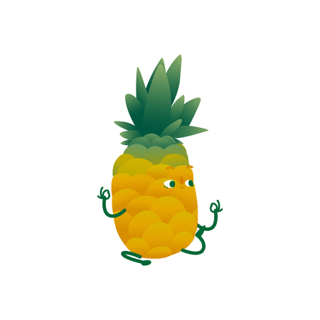 Vector cheerful pineapple character doing yoga exercise. Yellow fruit full of energy and vitamins practicing meditation. Healthy lifestyle, fitness and sport concept.