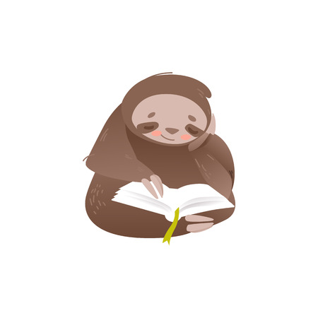 Cute sloth sitting and reading book with interest isolated on white background - lovely and adorable lazy animal studying or resting in flat style. Vector illustration of funny cartoon character.