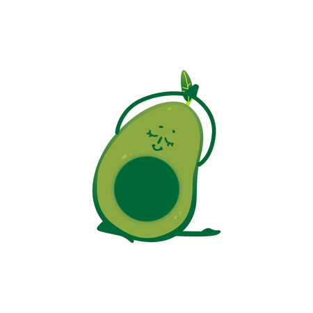 Vector cheerful avocado character doing yoga exercise. Green fruit full of energy and vitamins practicing meditation or stretching. Healthy lifestyle, fitness and sport concept.