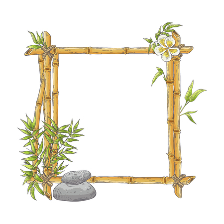Vector bamboo frame with plumeria flower, balance zen pebble stones, abstract green plants leaves. Traditional chinese, eastern decoration. Sketch wooden sicks binded by rope. Asian design background