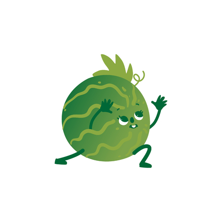 Vector cheerful watermelon character doing stretching exercise. Green fruit full of energy and vitamins practicing yoga. Healthy lifestyle, fitness and sport concept.